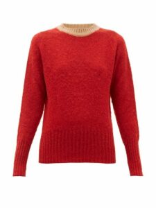 La Fetiche - Viva Contrast Trim Wool Sweater - Womens - Red