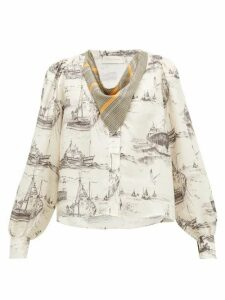 La Prestic Ouiston - Vegas Neckerchief Toile-print Silk Blouse - Womens - Ivory Multi