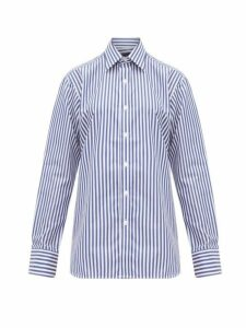 Emma Willis - Butcher-stripe Cotton Shirt - Womens - Navy White