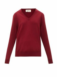 Giuliva Heritage Collection - The Euridice V Neck Virgin Wool Sweater - Womens - Burgundy