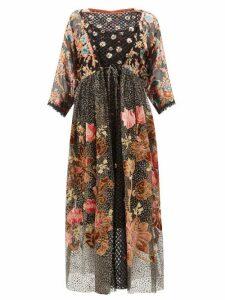 Biyan - Inggrid Embroidered Patchwork-devoré Dress - Womens - Black Pink