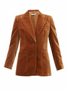 Bella Freud - Saint James Single Breasted Velvet Jacket - Womens - Mid Brown