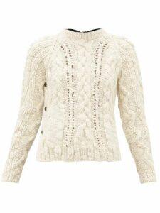 La Fetiche - Marilyn Cable-knit Wool Sweater - Womens - Black Cream