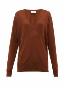 Raey - V-neck Fine-knit Cashmere Sweater - Womens - Dark Orange