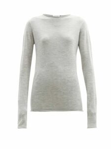 Raey - Sheer Raw-edge Crew-neck Cashmere Sweater - Womens - Light Grey