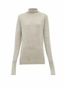 Raey - Sheer Raw Edge Funnel Neck Cashmere Sweater - Womens - Light Grey