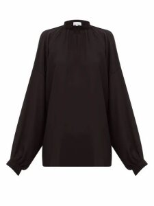 Raey - Gathered Balloon-sleeved Silk Crepe De Chine Top - Womens - Black