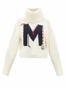 Moncler - Logo-jacquard Chunky-knit Roll-neck Sweater - Womens - White Multi