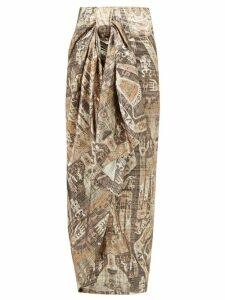 Edward Crutchley - Raja-print Lamé Wrap Skirt - Womens - Brown Multi