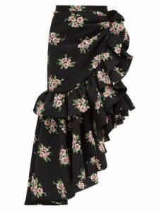 Rodarte - Asymmetric Floral-print Cloqué Midi Skirt - Womens - Black Multi