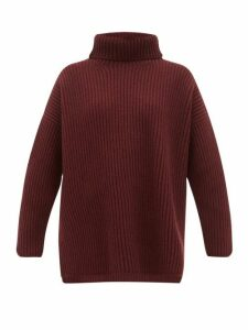 Joseph - Oversized Ribbed Merino Wool Roll Neck Sweater - Womens - Burgundy