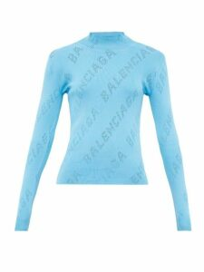 Balenciaga - Perforated Logo High Neck Sweater - Womens - Light Blue