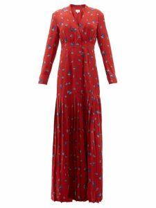 Rebecca De Ravenel - Paisley-print Silk Crepe De Chine Maxi Dress - Womens - Red Multi