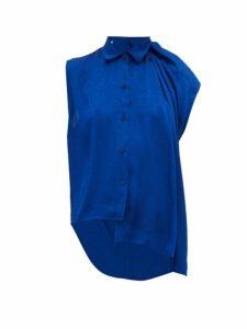 Balenciaga - Asymmetric Floral-jacquard Top - Womens - Blue
