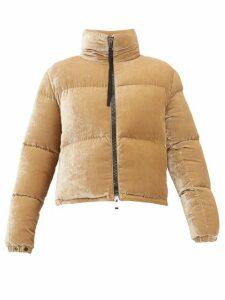 Moncler - Rimac Velvet High-neck Quilted Jacket - Womens - Camel