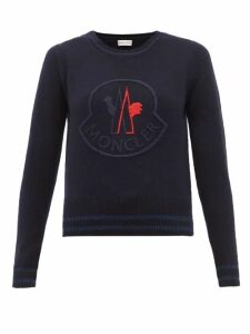 Moncler - Logo Embroidered Wool Blend Sweater - Womens - Navy Multi