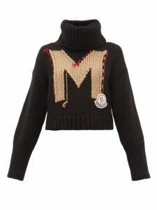 Moncler - Logo-jacquard Roll-neck Chunky-knit Sweater - Womens - Black Multi
