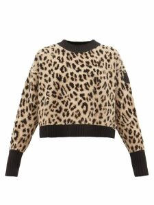 Moncler - Leopard Jacquard Wool Blend Sweater - Womens - Animal
