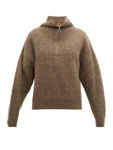 Isabel Marant Étoile - Mclean Half Zip Ribbed Sweater - Womens - Brown