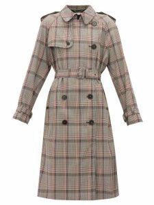Stella Mccartney - Prince Of Wales-check Wool Trench Coat - Womens - Black Multi