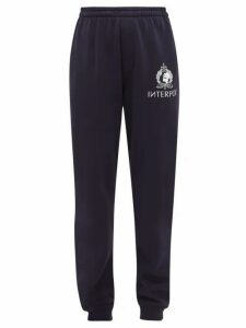 Vetements - Interpol Print Cotton Blend Jersey Track Pants - Womens - Navy