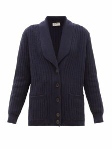 Giuliva Heritage Collection - The Clio Ribbed Wool Blend Cardigan - Womens - Navy