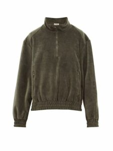 Phipps - Trekking Half Zip Cotton Velour Sweatshirt - Womens - Khaki