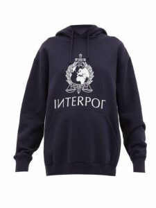 Vetements - Interpol-print Cotton Hooded Sweatshirt - Womens - Navy