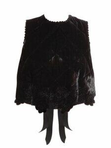 Cecilie Bahnsen - Amarylis Quilted Velvet Crop Top - Womens - Black
