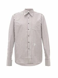Wales Bonner - Logo-embroidered Striped Cotton-poplin Shirt - Womens - Brown White
