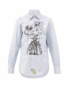 Aries - Cartoon-print Pinstripe Cotton Shirt - Womens - Light Blue