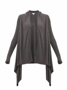 Skin - Mineta Waterfall-hem Wool-blend Cardigan - Womens - Dark Grey