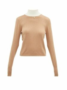 Staud - Urchin Contrasting High Neck Cotton-blend Sweater - Womens - Beige White
