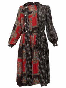 Junya Watanabe - Polka-dot And Paisley-print Satin Dress - Womens - Black Multi