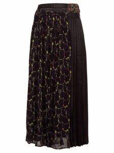 Junya Watanabe - Layered Floral-print Crepe And Satin Skirt - Womens - Black Multi