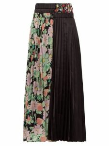 Junya Watanabe - Floral-print Crepe And Satin Pleated Skirt - Womens - Black Multi
