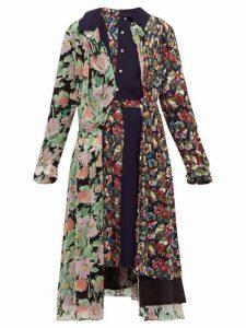 Junya Watanabe - Belted Floral Print Crepe Midi Dress - Womens - Navy Multi