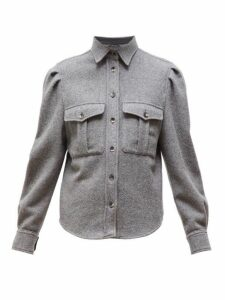 Isabel Marant - Florrie Puffed-sleeve Wool-blend Overshirt - Womens - Grey