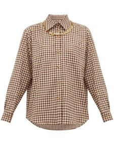 Burberry - Chain-trim Gingham Cotton-flannel Shirt - Womens - Brown Print