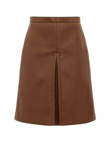 Burberry - Inverted-pleat Faux-leather Skirt - Womens - Brown