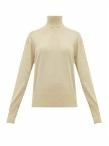 Burberry - Nabuna Logo Cuff Wool Blend Roll Neck Sweater - Womens - Light Cream