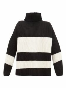 Joseph - Side Slit Ribbed Merino Wool Sweater - Womens - Black White