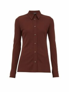 Joseph - Button-down Crepe-jersey Shirt - Womens - Burgundy