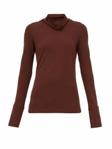 Joseph - Draped Neck Crepe Jersey Blouse - Womens - Burgundy