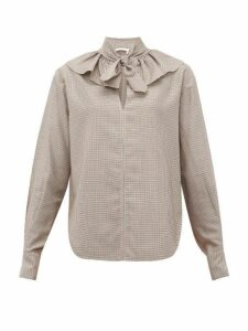See By Chloé - Tie-neck Houndstooth-twill Blouse - Womens - Beige