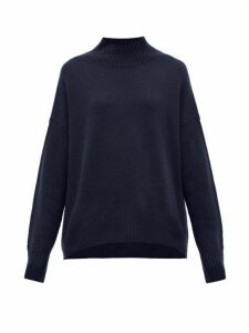 Allude - Oversized High Neck Cashmere Sweater - Womens - Navy