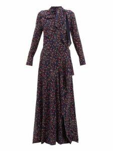 Chloé - Aquatic Floral-print Slit-hem Maxi Dress - Womens - Navy Multi