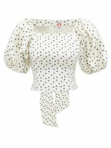 Shrimps - Vita Polka-dot Linen-blend Faille Top - Womens - Ivory