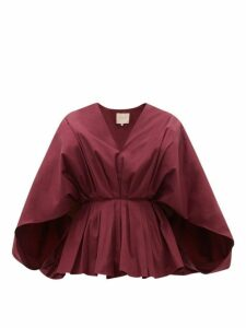 Roksanda - Anya Pleated Cape-sleeve Cotton Blouse - Womens - Burgundy