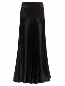Alexandre Vauthier - Crystal-buckle Silk-blend Pleated Maxi Skirt - Womens - Black
